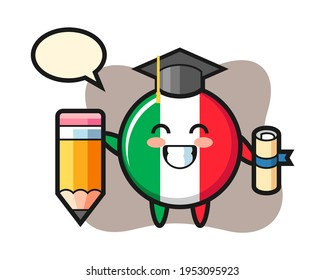 Italy flag badge illustration cartoon is graduation with a giant pencil, cute style design for t shirt, sticker, logo element