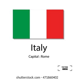Italy Flag, Flags of the world for education, Vector design.