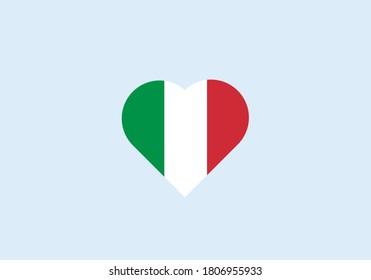 Italy flag in heart outline. Green-white-red vector illustration