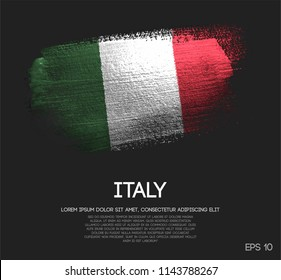 Italy Flag Made of Glitter Sparkle Brush Paint Vector