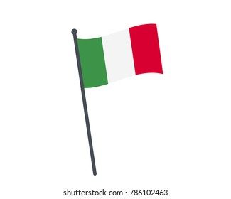 italy flag. The national flag of italy on a pole. The waving flag. The sign and symbol of the country. Realistic vector on white.
