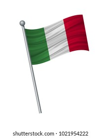 italy flag on the flagpole. Official colors and proportion correctly. waving of italy flag on flagpole, vector illustration isolate on white background.
