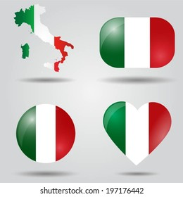 Italy flag set in map, oval, circular and heart shape.