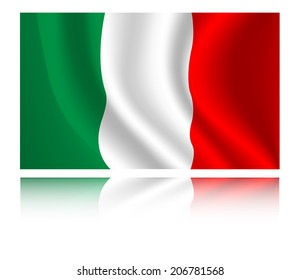 Italy flag with shadow in the wind illustration