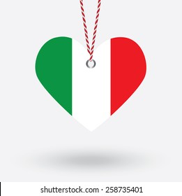 Italy flag in the shape of a heart with hang tags