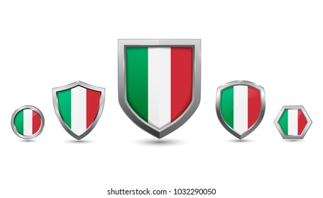 Italy flag - silver badges with different 3 shape shield, circle and hexagon - stock vector illustration