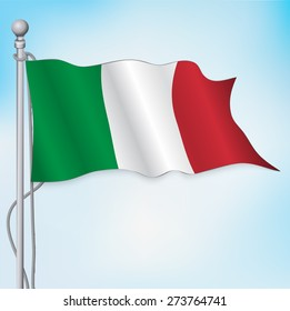 Italy flag waving in sky. Vector. Eps10.