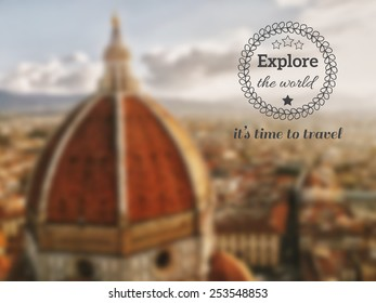 Italy Florence (Firenze) Duomo Santa Maria del Fiore on morning sun and haze from aeral view postcard with bags and quote