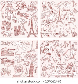 Italy, France, USA - four wonderful collections of hand drawn doodles