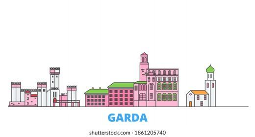 Italy, Garda line cityscape, flat vector. Travel city landmark, outline illustration, line world icons
