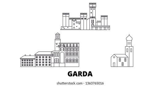 Italy, Garda line travel skyline set. Italy, Garda outline city vector illustration, symbol, travel sights, landmarks.