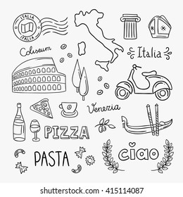 Italy hand drawn icons and vector illustrations. Italy pizza, pasta, travel icons, architecture, food, drink. Italian symbols outline drawing clipart