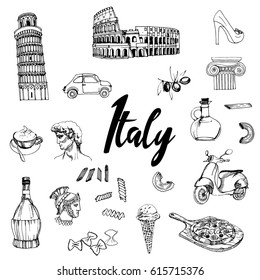 Italy. Hand drawn vector set