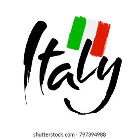 Italy hand lettering. Name of country. Ink illustration. Modern brush calligraphy. Isolated on white background. Vector