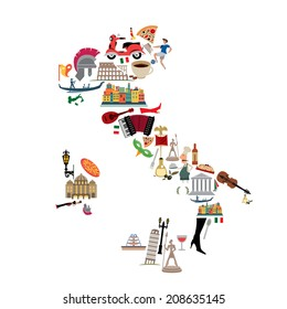 Italy Icon Collection,Pizza, Food and History (vector Art)