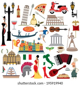 Italy Icons Collection, Illustration set,  Italian Flag (vector Art)