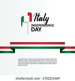 Italy Independence Day Banner With Flag Illustration