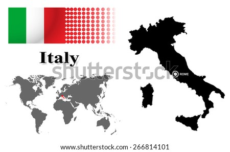 Italy Info Graphic Flag Location World Stock Vector Royalty Free