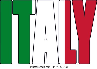 Italy Italian Country Flag Text Font Work Shaped Illustration