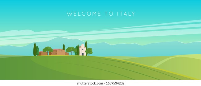 Italy. Italian landscape. Wide panorama rural countryside in spring or summer. Meadows, mountains and houses. Vector illustration
