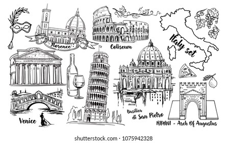 Italy Landmark Vector Sketch Set. Coliseum, bridges Venice, Tower Pisa, Vatican, Rimini, Arch Augustus, Santa Maria del Fiore, Florence, Saint Pietro Basilica, Rome, Pantheon and Italy map isolated