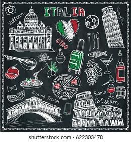 Italy landmark,food set.Vintage vector.Hand drawn doodle chalk sketchy.Italian hello.Coliseum,bridges of Venice,tower of Pisa,Vatican.Travel illustration background.Colored Vector