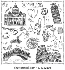 Italy landmark,food set.Vintage vector.Hand drawn doodle sketchy.Italian hello.Coliseum,bridges of Venice,tower of Pisa,Vatican.Travel illustration background.Colored Vector