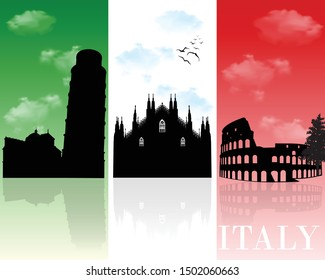 Italy landmarks, skyline silhouette on National flag background, vector illustration