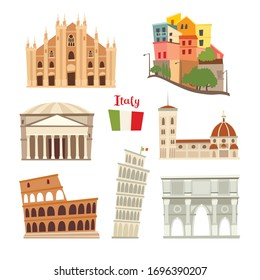 Italy landmarks vector icons set. Illustrated travel collection. Italian Sardinia, Sicily islands cartoon style. Milan Cathedral,Pisa Tower. Coliseum, Rome drawn art sign. Isolated on white background