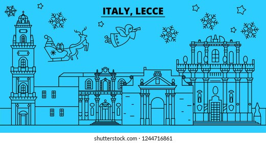Italy, Lecce winter holidays skyline. Merry Christmas, Happy New Year decorated banner with Santa Claus.Italy, Lecce linear christmas city vector flat illustration
