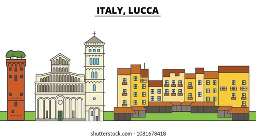 Italy, Lucca. City skyline, architecture, buildings, streets, silhouette, landscape, panorama, landmarks. Editable strokes. Flat design line vector illustration concept. Isolated icons