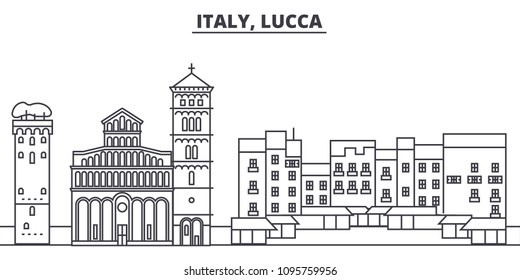 Italy, Lucca line skyline vector illustration. Italy, Lucca linear cityscape with famous landmarks, city sights, vector landscape.