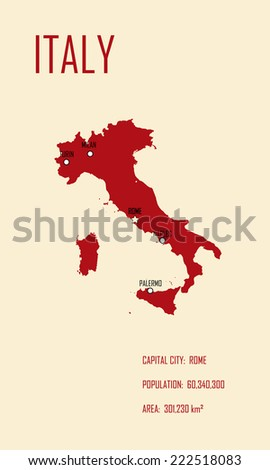 Basic Map Of Italy.Italy Map Basic Information Vector Illustration Stock Vector
