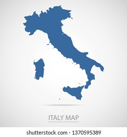 Italy map. Blue Italy map and Country name . Vector map on gray background. Symbol for your web site design map logo. app, ui, Travel vector eps10, concept Illustration.