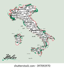 Italy map with city names