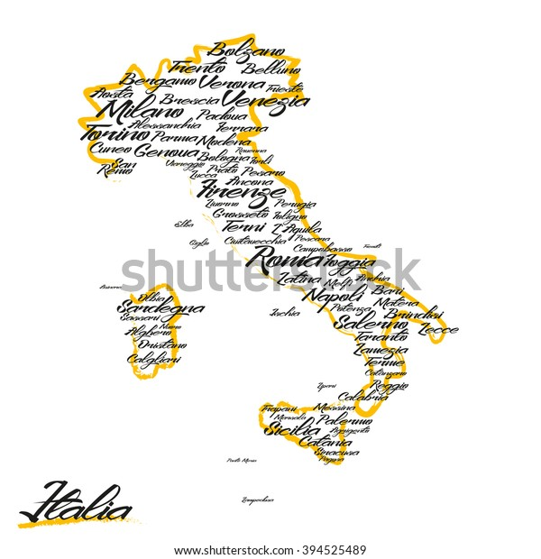 Italy Map City Names Stock Image Download Now