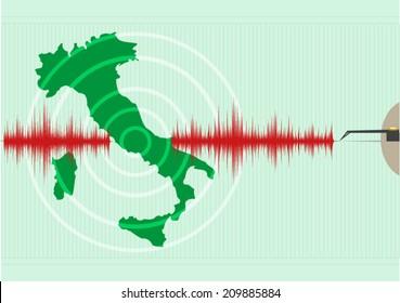 Italy Map Earthquake Vector