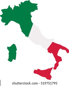 Italy map with flag