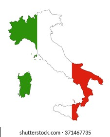 Italy map with flag inside, italy map vector, map vector