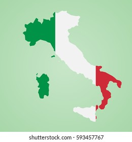 Italy map with flag inside, Italy map vector. Country shape outlined and filled with the flag of Italy. Highly Detailed Country Silhouette With Flag Italy