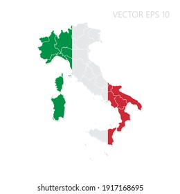 Italy map with flag and shadow isolated on white background. Vector illustration EPS10.