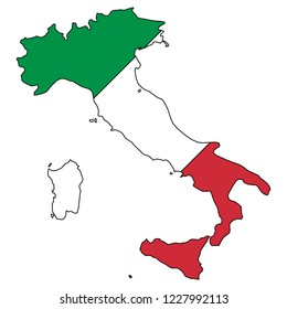 Italy Map And Italy Flag Vector