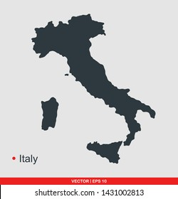 Italy map flat icon, vector illustration on gray background