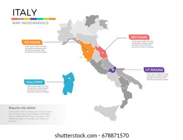 Italy map infographics vector template with regions and pointer marks