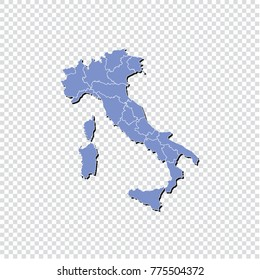 Italy map isolated on transparent background.High Detailed Blue Map of Italy isolated.Vector illustration