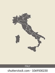 Italy map outline vector illustration in gray background. Borders of all states or provinces or counties are included on this map.