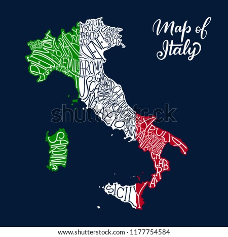 Italy Map Regions Provinces.Italy Map Regions Provinces Names Sketch Stock Vector Royalty Free