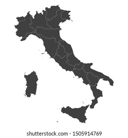 Italy map with selected regions in black color on a white background