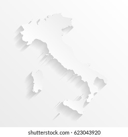 Italy Map with shadow. Cut paper isolated on a white background. Vector illustration.