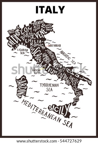 Italy Map Silhouette Regions Names Tuscany Stock Vector Royalty